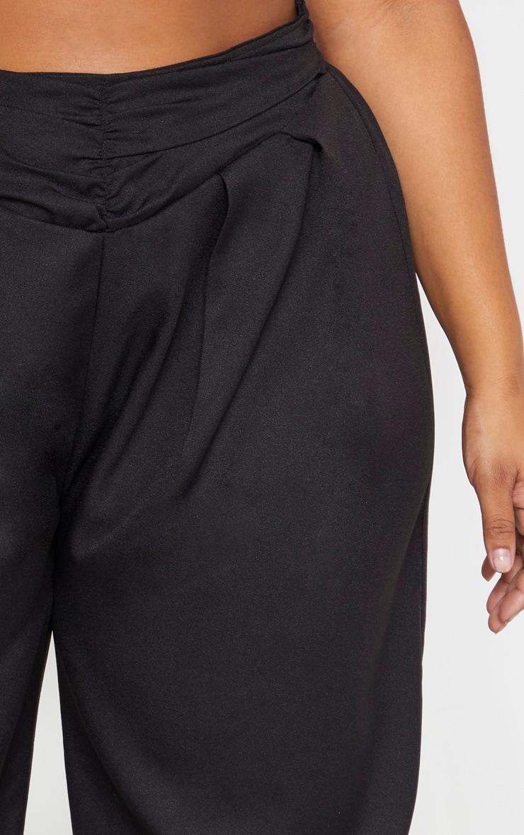 Plus Black Ruched Waist Pants 4