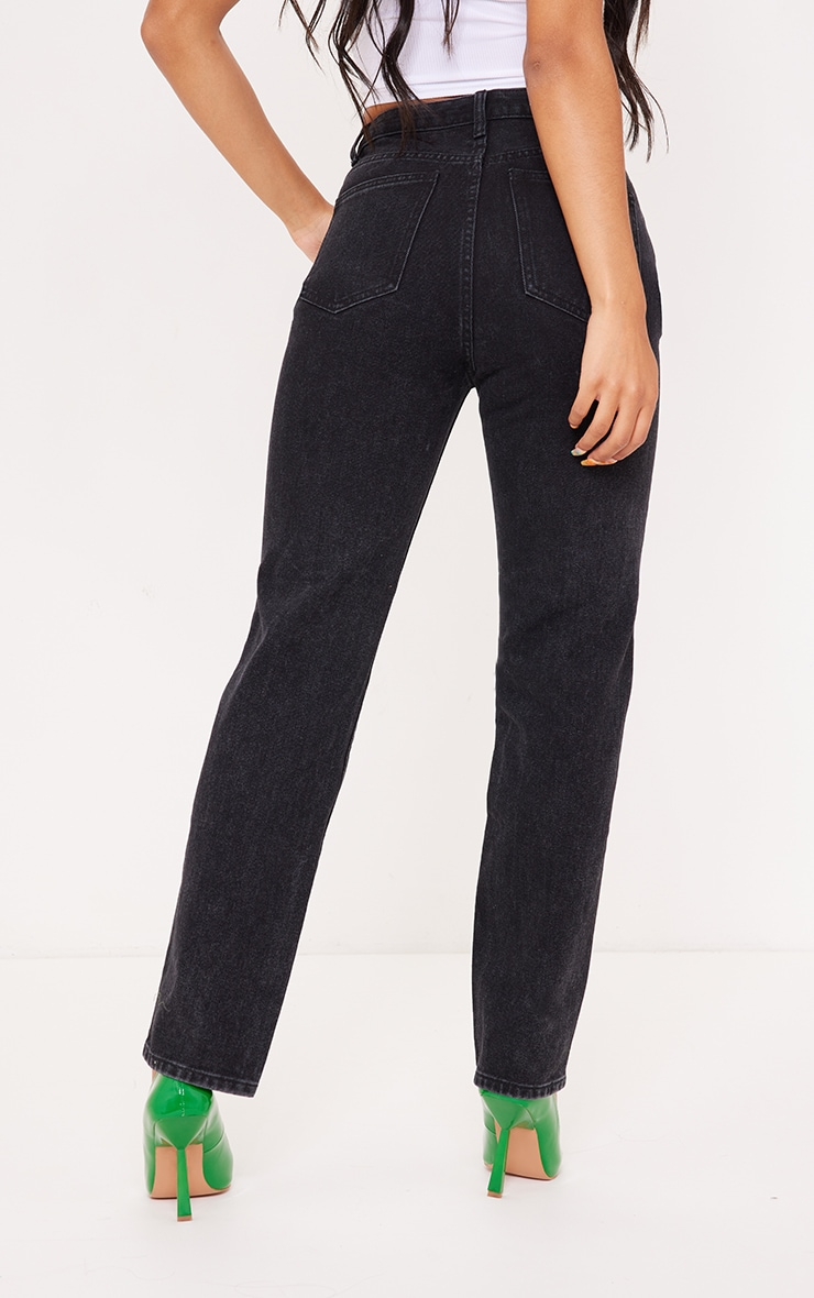 Washed Black Cut Out Seam Detail Straight Leg Jean 3