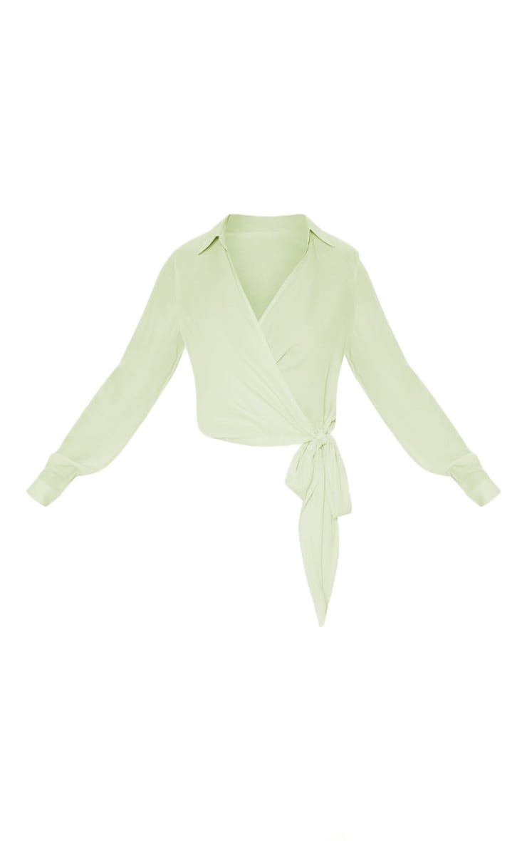 Sage Green Wrap Front Tie Side Blouse 3