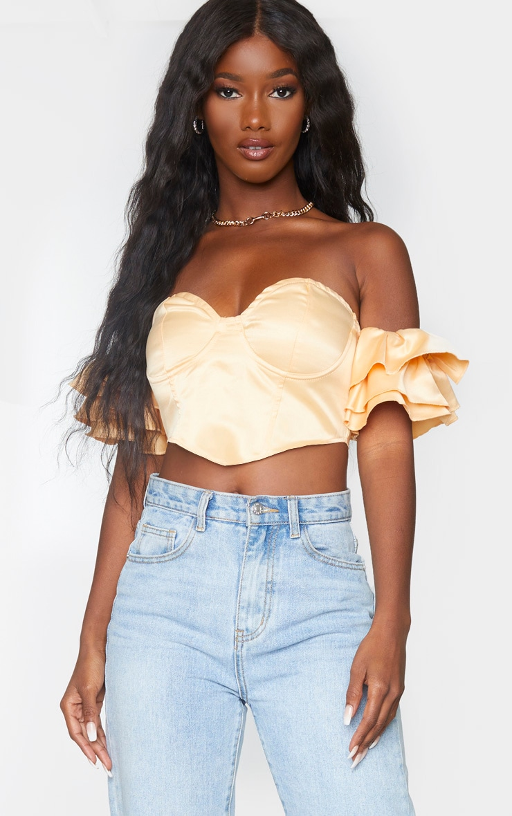 Champagne Satin Bardot Frill Sleeve Pointed Hem Crop Top 1