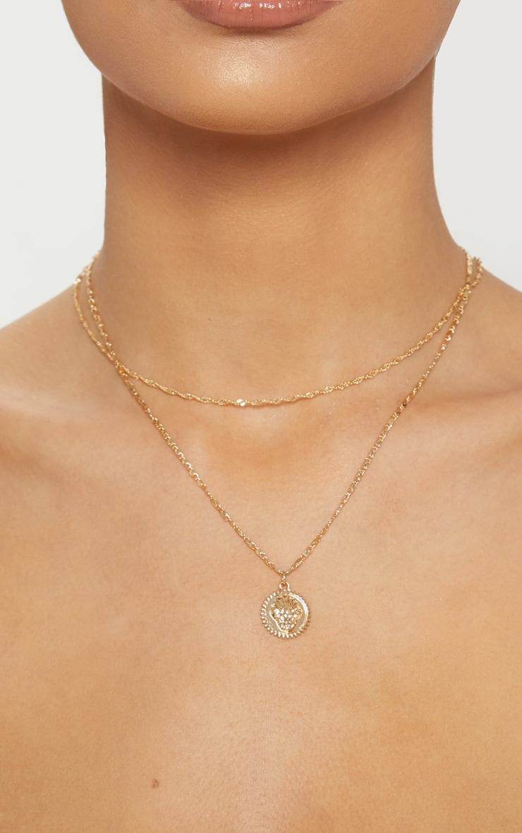 Gold Lion Head Charm Necklace 2