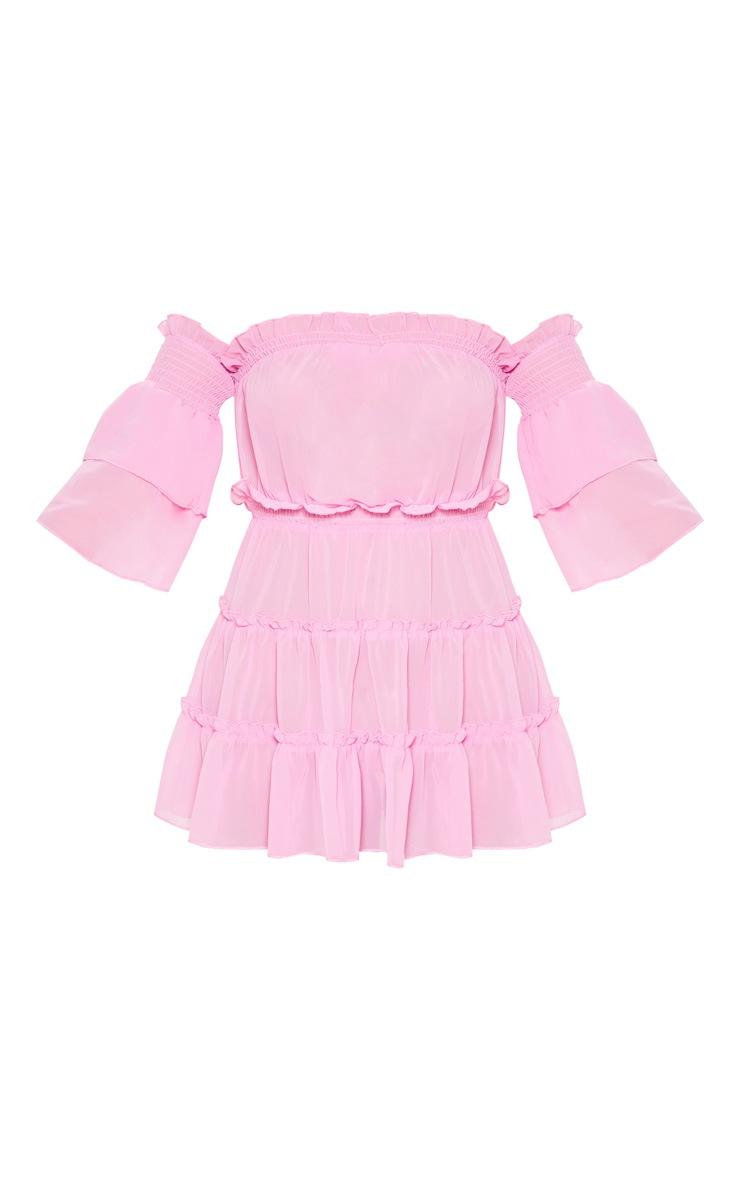 Pink Ruffle Tiered Off Shoulder Beach Dress 3