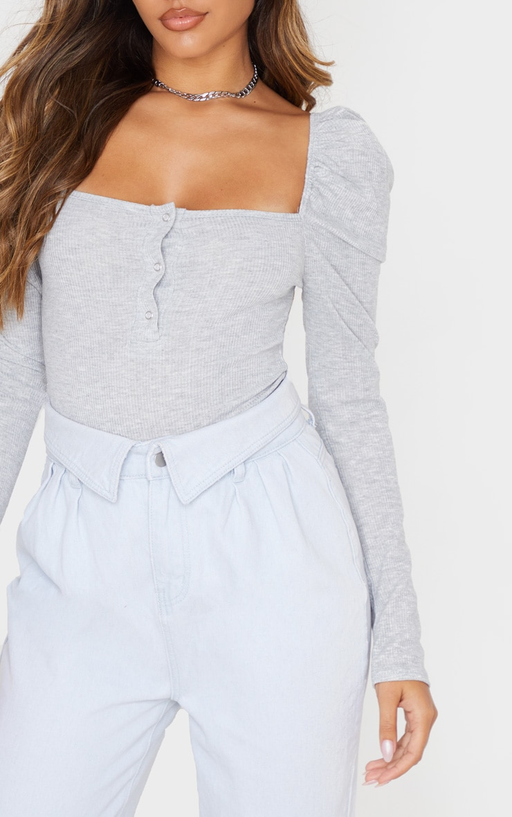 Grey Rib Puff Long Sleeve Bodysuit 5