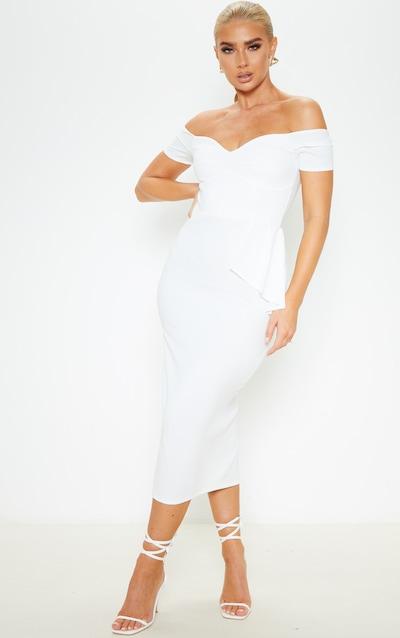 White Cap Sleeve Peplum Detail Midi Dress