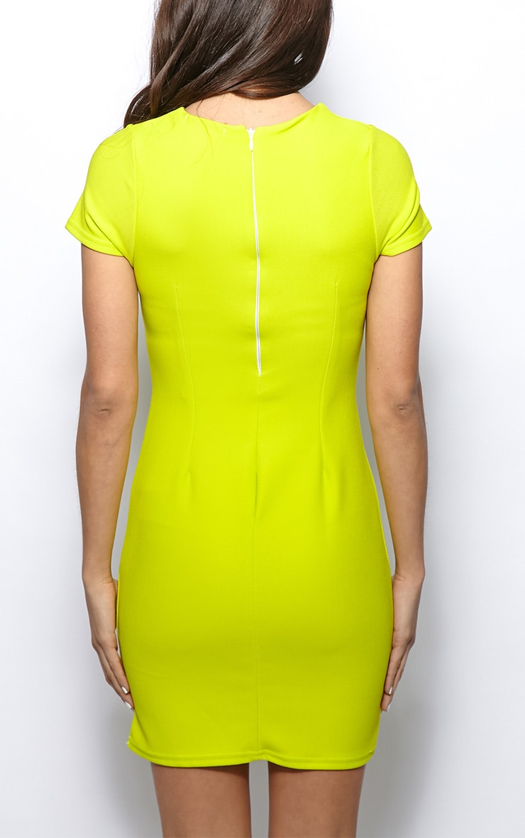 Lillie Lime Ribbed Bodycon Mini Dress 2