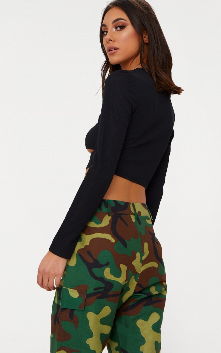 Black Rib Long Sleeve Under Bust Crop Top  2