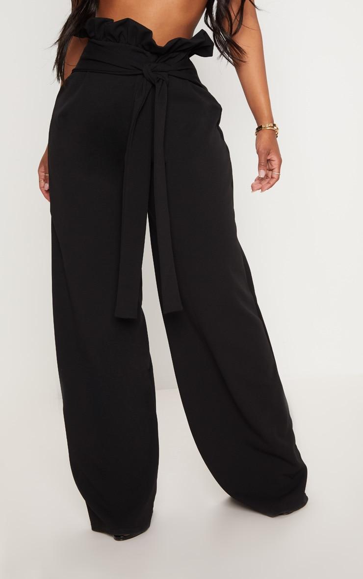 Shape- Pantalon ample noir à taille haute froissée 2
