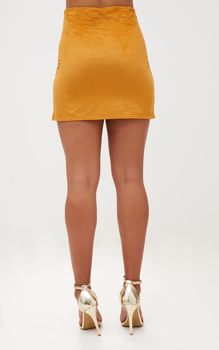 Mustard Faux Suede Mini Skirt 4