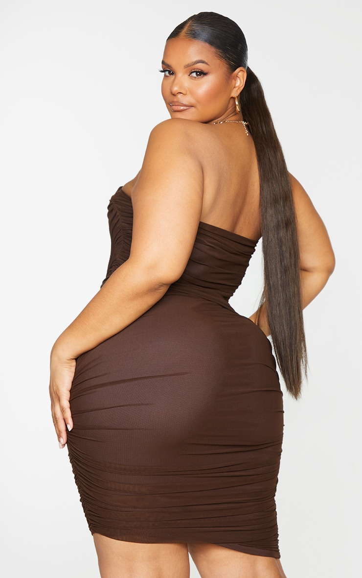 Plus Chocolate Layered Mesh Ruched Strapless Bodycon Dress 2