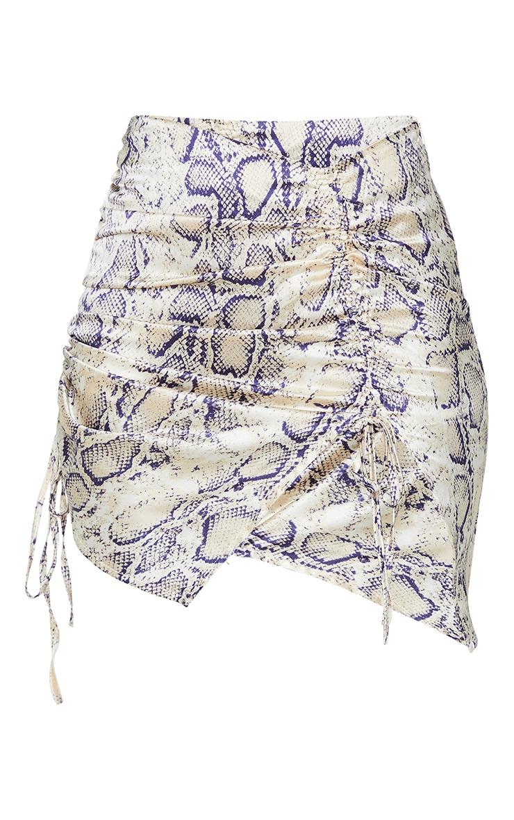 Cream Snake Print Ruched Detail Mini Skirt 6