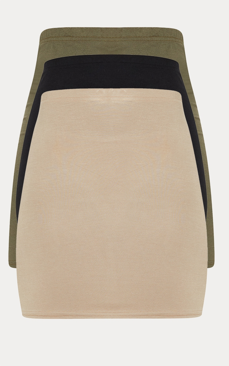 Black Taupe and Khaki Basic Jersey Mini Skirt 3 Pack 3