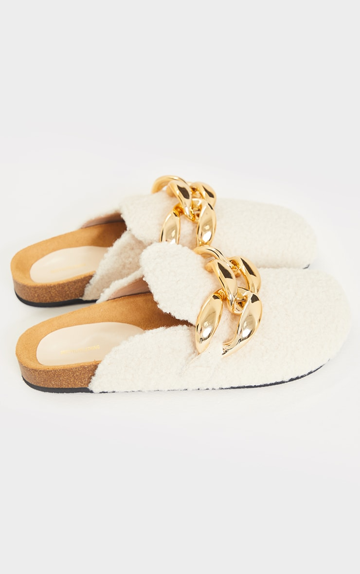 Cream Faux Shearling Chunky Chain Mules 4