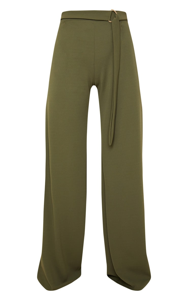 Khaki D Ring Belted Wide Leg Trousers 4