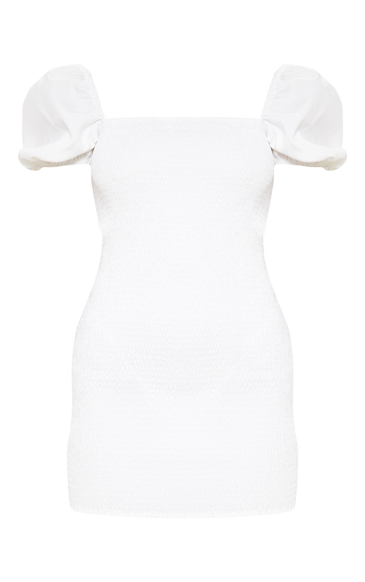 White Puff Sleeve Square Neck Shirred Bodycon Dress 3