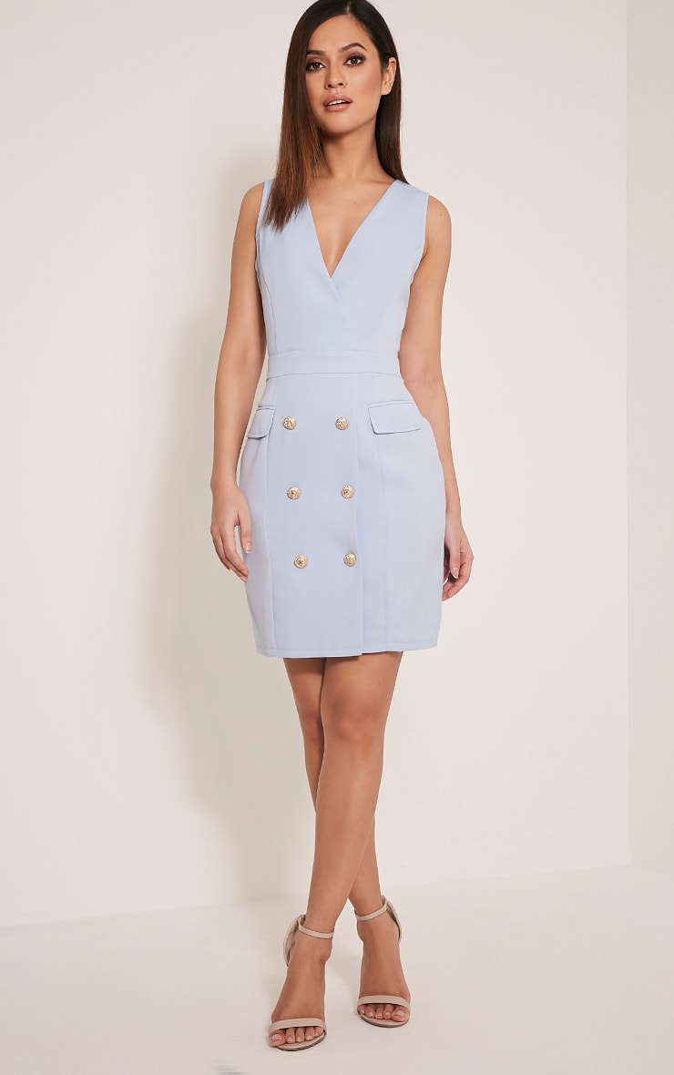 Keera Baby Blue Button Detail Blazer Dress 4