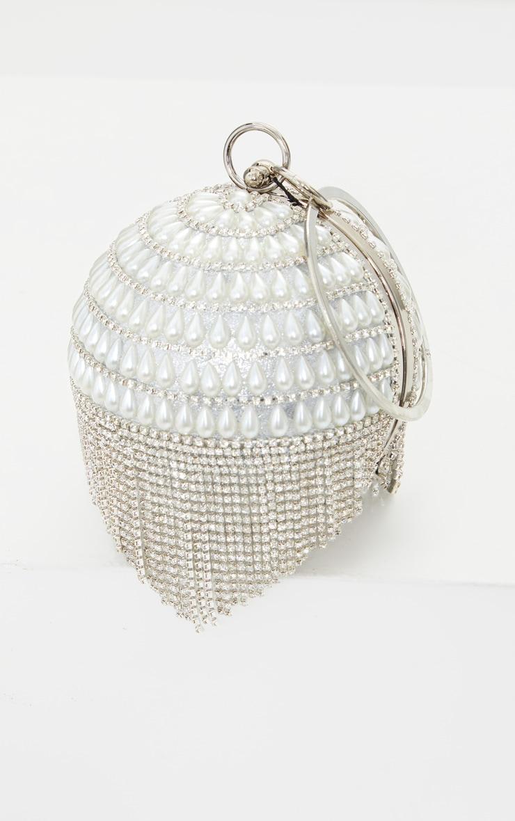 White Pearl Silver Diamante Sphere Clutch 2