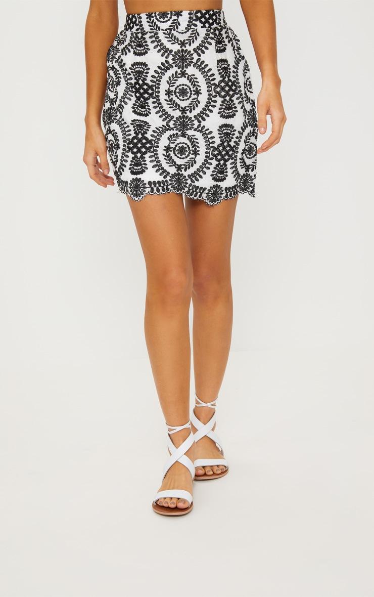 Black Embroidered A-Line Mini Skirt 2