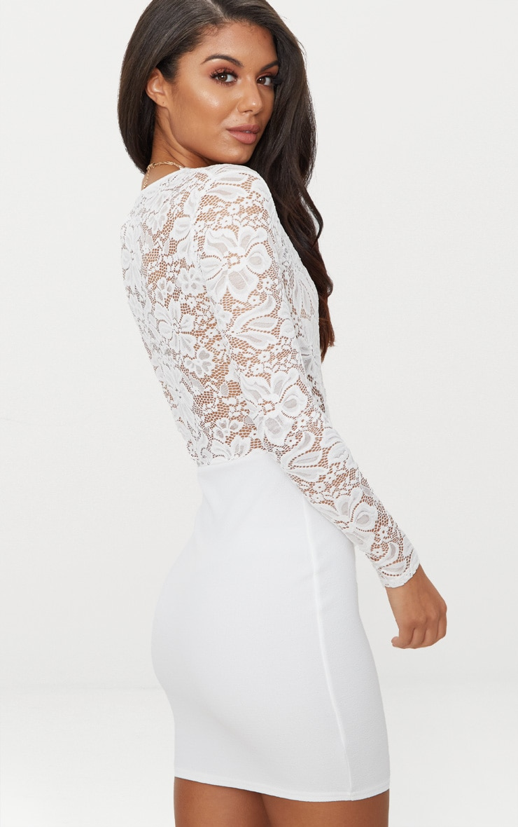 White Lace Top Long Sleeve Bodycon Dress 2
