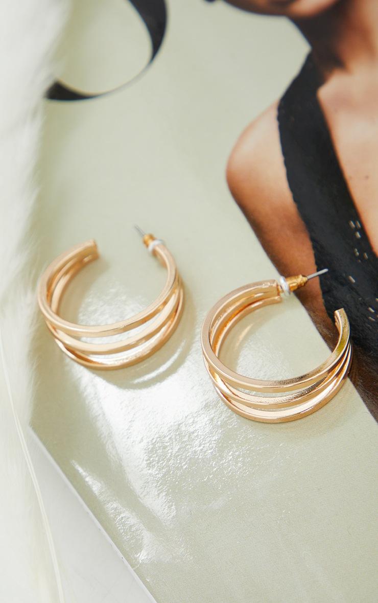 Gold Double Cut Out Hoop Earrings 2