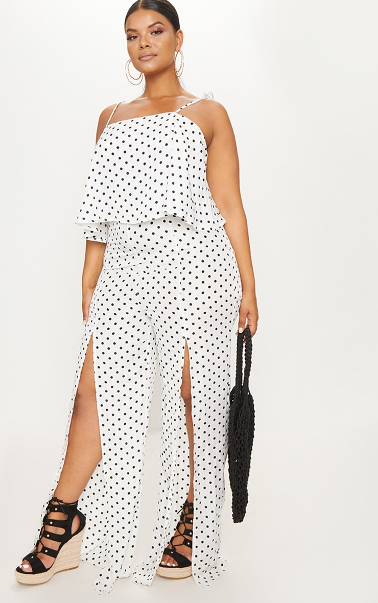 Plus White Polkadot Tie Strap Split Leg Jumpsuit 4