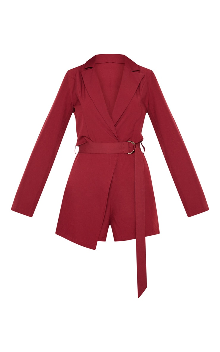 Burgundy Wrap Over Blazer Playsuit 3