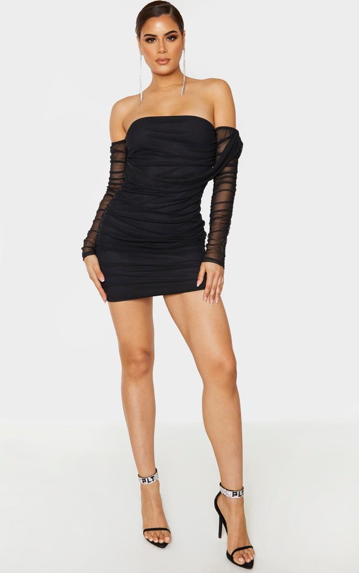 Tall Black Mesh Wrap Bodycon Dress 4