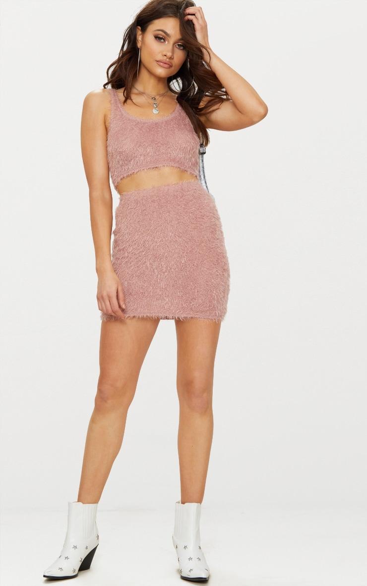 Pink Eyelash Fluffy Knit Skirt 5