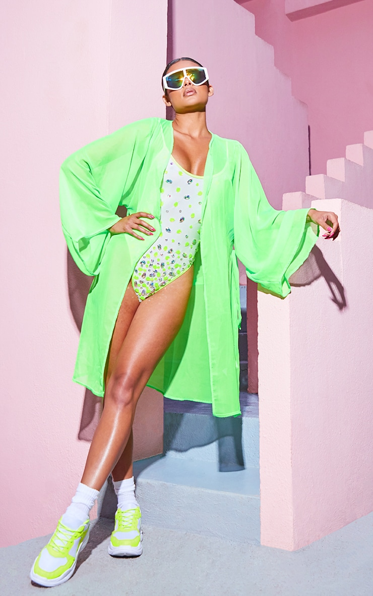 Neon Lime Lace Back Jewelled Swimsuit  5