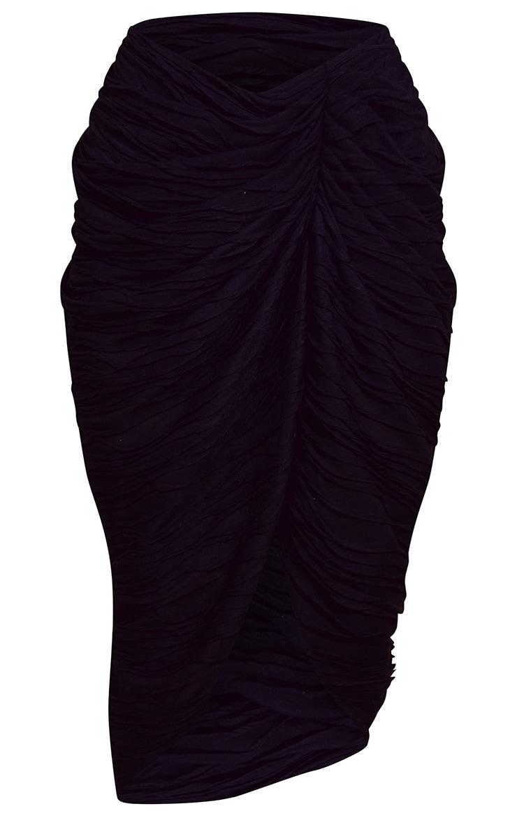 Black Textured Dip Waist Ruched Midi Skirt 5