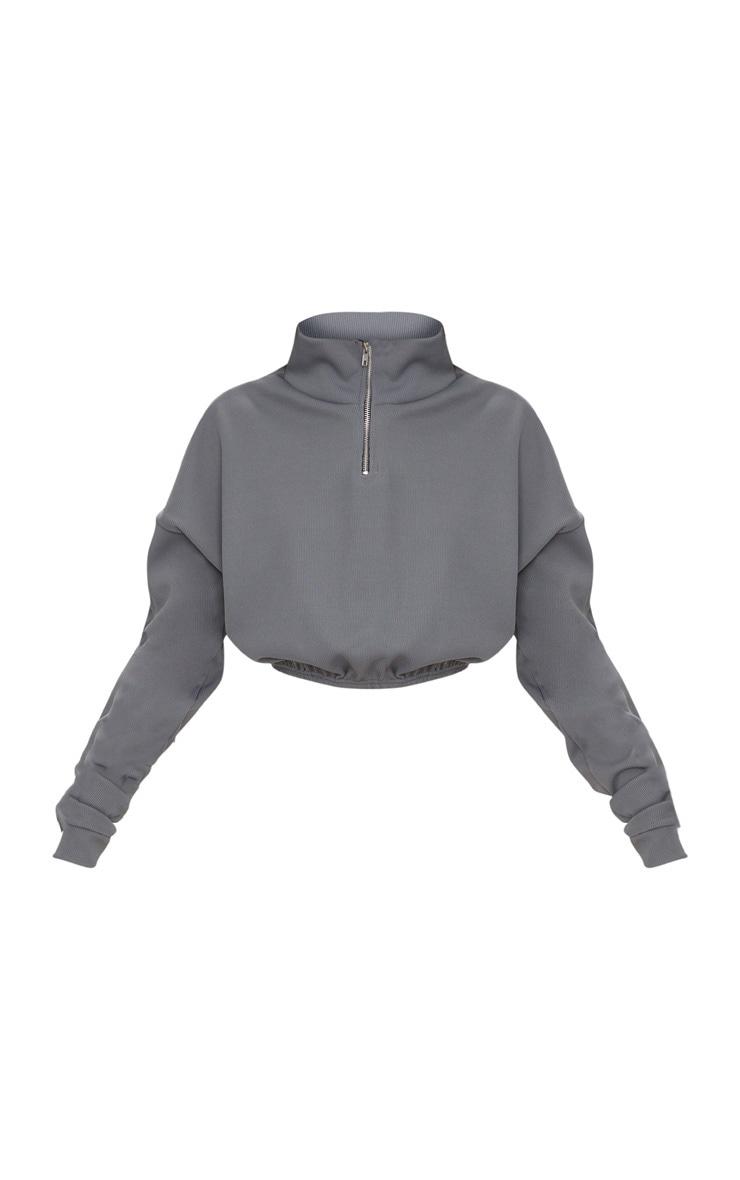 Grey Rib Zip Front Long Sleeve Sweatshirt 3