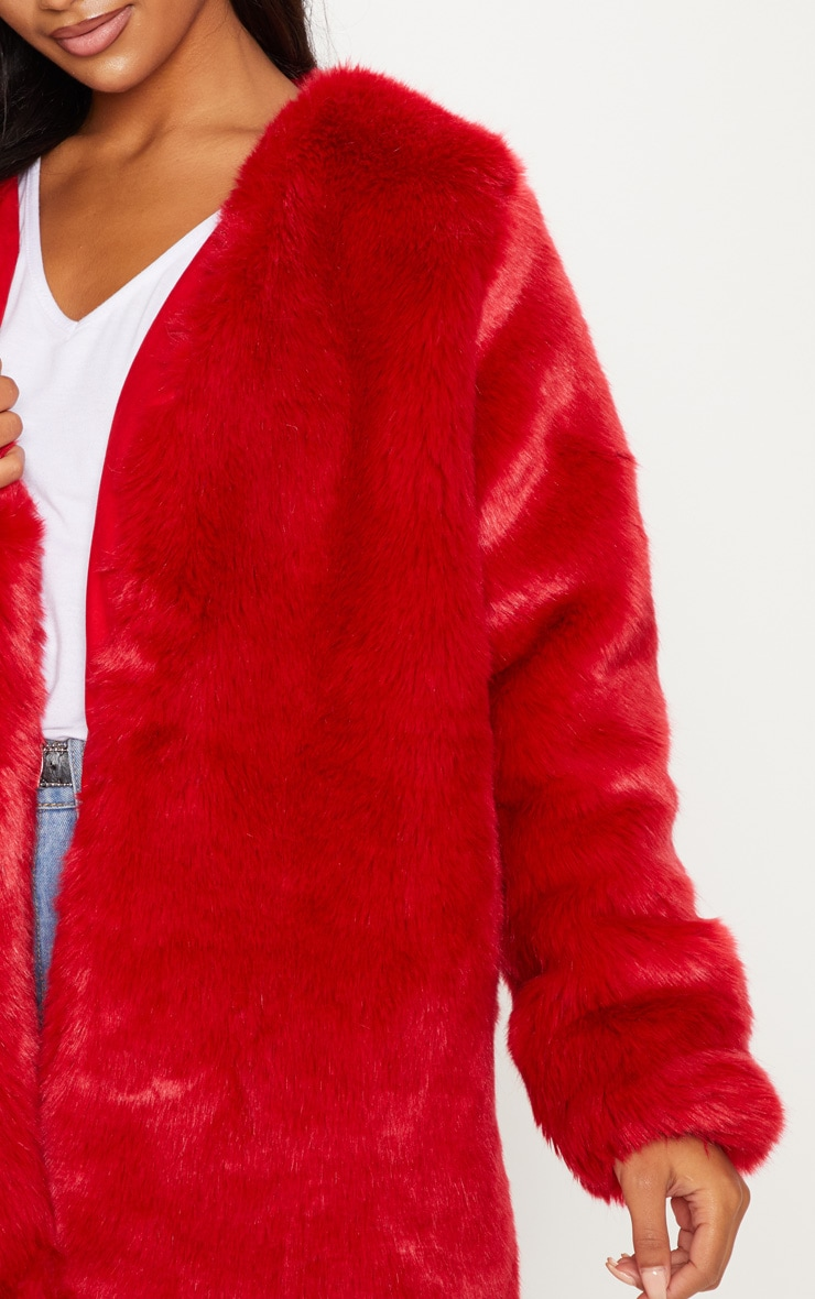 Red Midi Faux Fur Coat  4