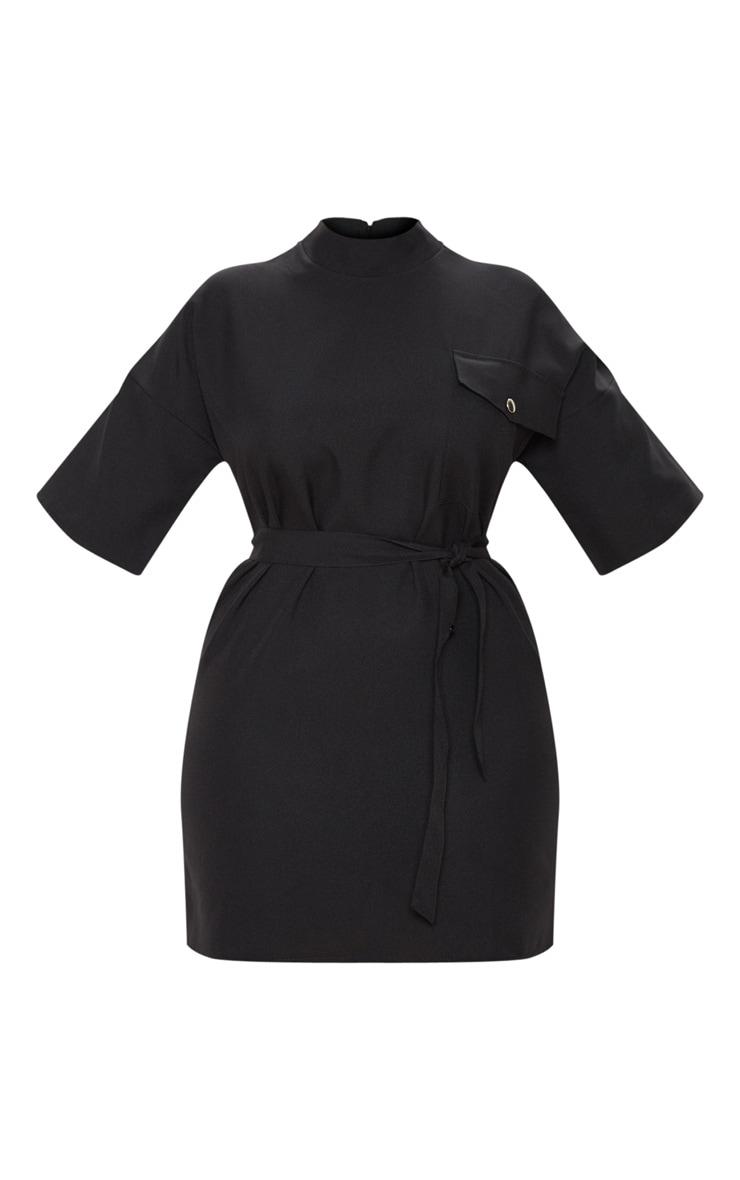 Plus Black Cargo Popper Detail Belted Shift Dress 3