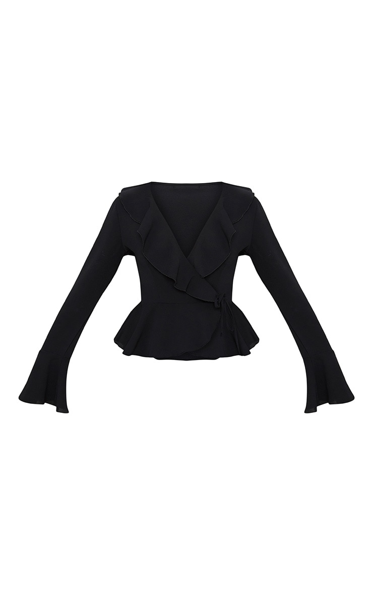 Black Chiffon Frill Detail Blouse  3