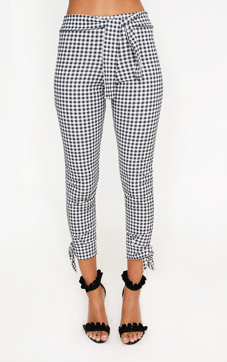 Black Gingham Tie Detail Fitted Trousers 2