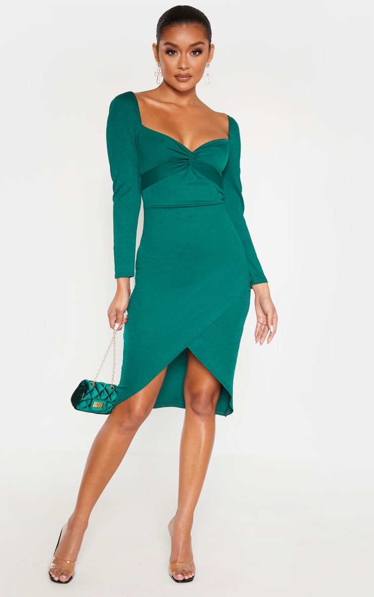 emerald-green-twist-front-long-sleeve-wrap-midi-dress by prettylittlething