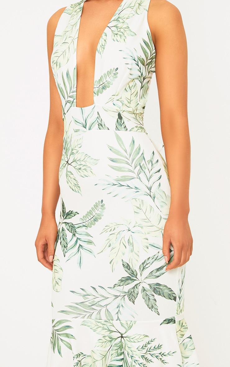 Green Palm Print Plunge Fishtail Midi Dress 5