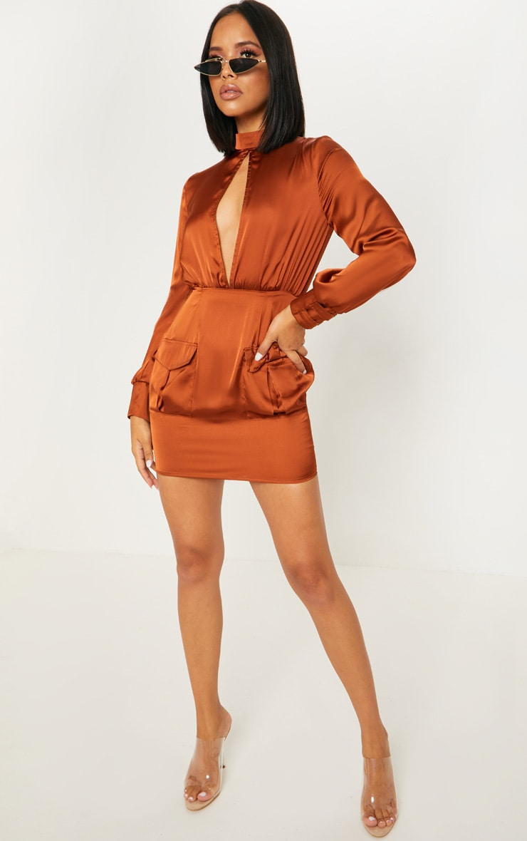 Rust Satin Key Hole Pocket Front Bodycon Dress 4