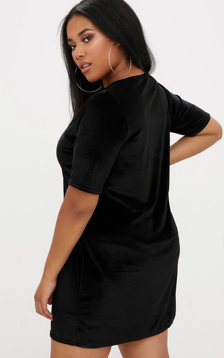 Plus Black Mesh Insert Velvet T-Shirt Dress 2