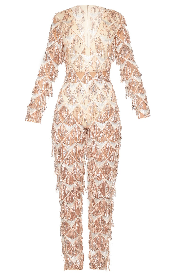 Rose Gold Tassel Sequin Plunge Jumpsuit 3