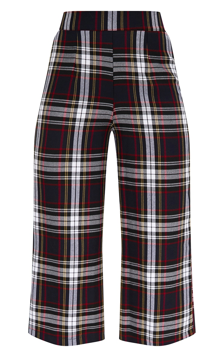Black Check High Waisted Culottes 3
