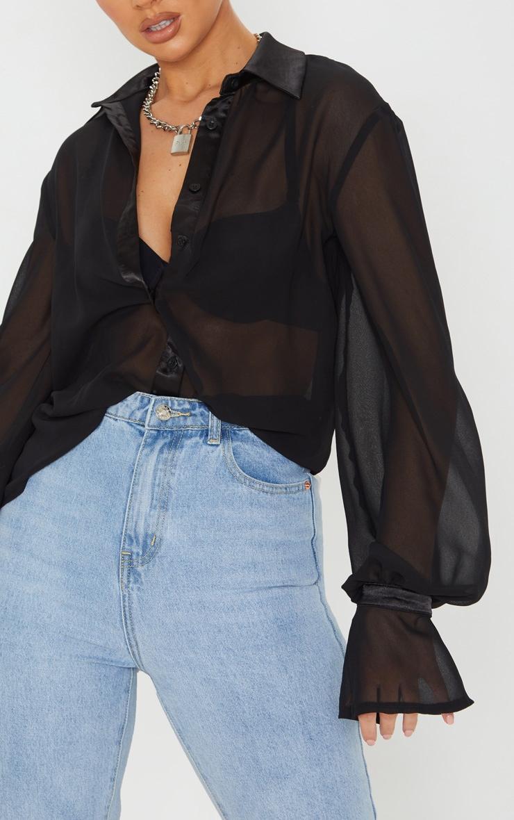 Black Chiffon Frill Cuff Shirt 5