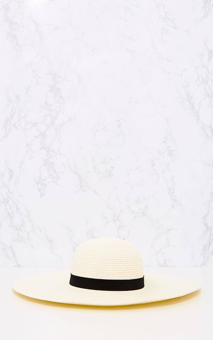Cream Wide Brim Floppy Straw Hat 3