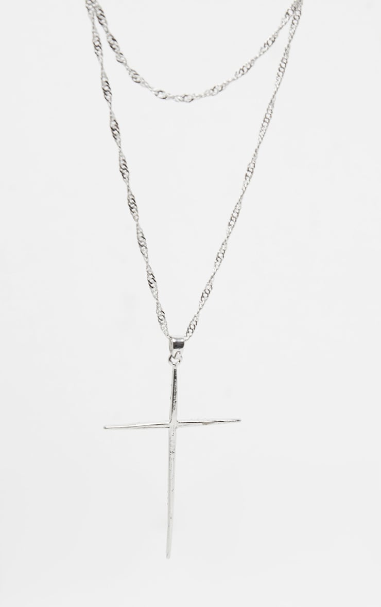 Silver Twist Change Cross Layering Necklace 3
