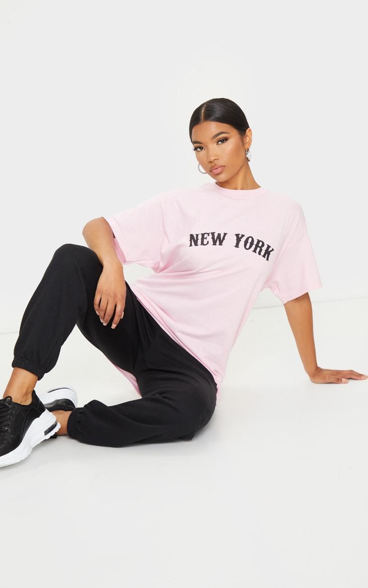 Baby Pink New York Printed T Shirt 3