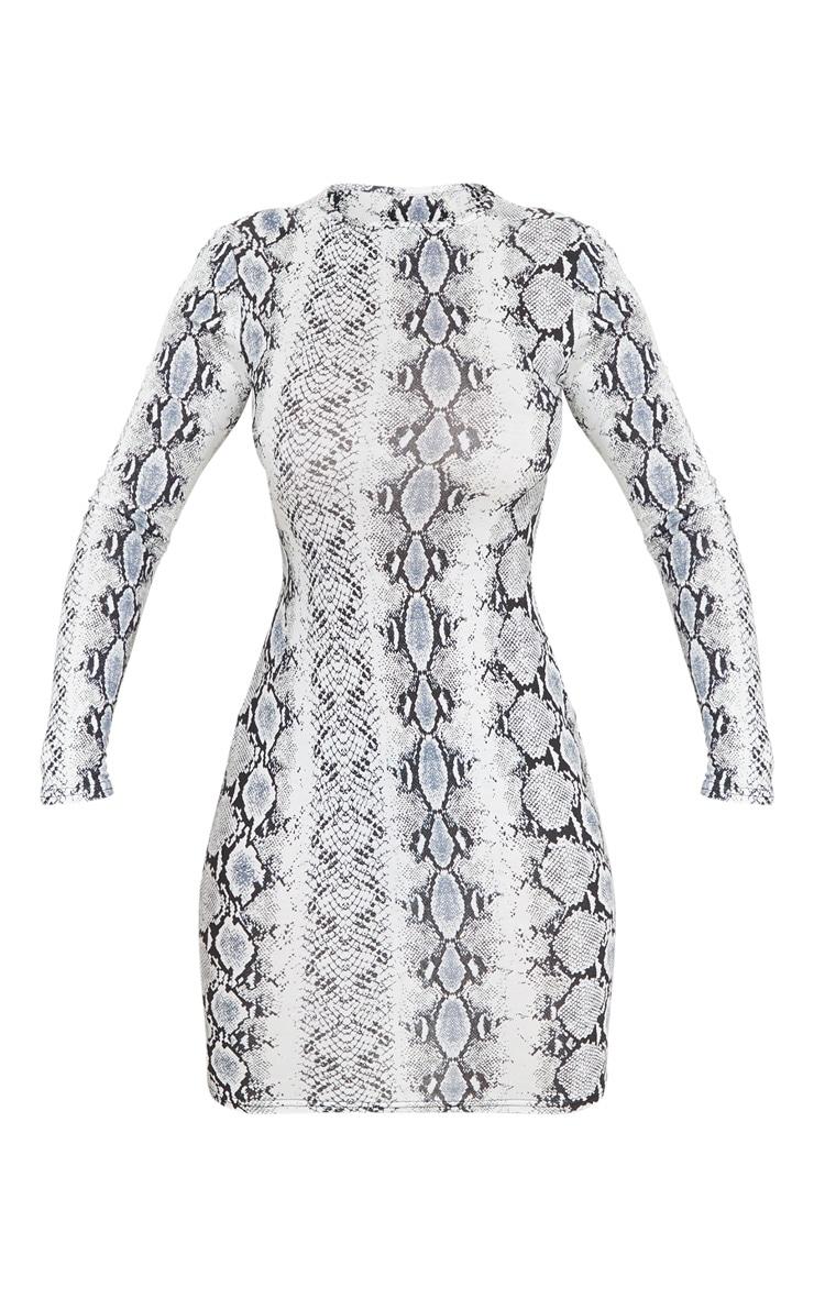 Grey Snake Print Cut Out Detail Long Sleeve Bodycon Dress 5