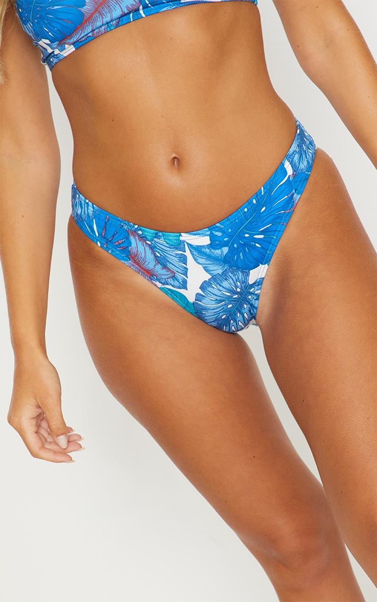 Blue Palm High Leg Bikini Bottom 6