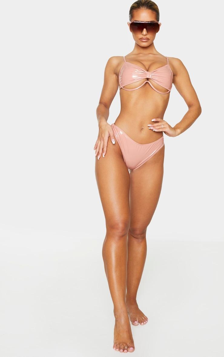 Nude Vinyl Knot Front Underwired Bikini Top 3