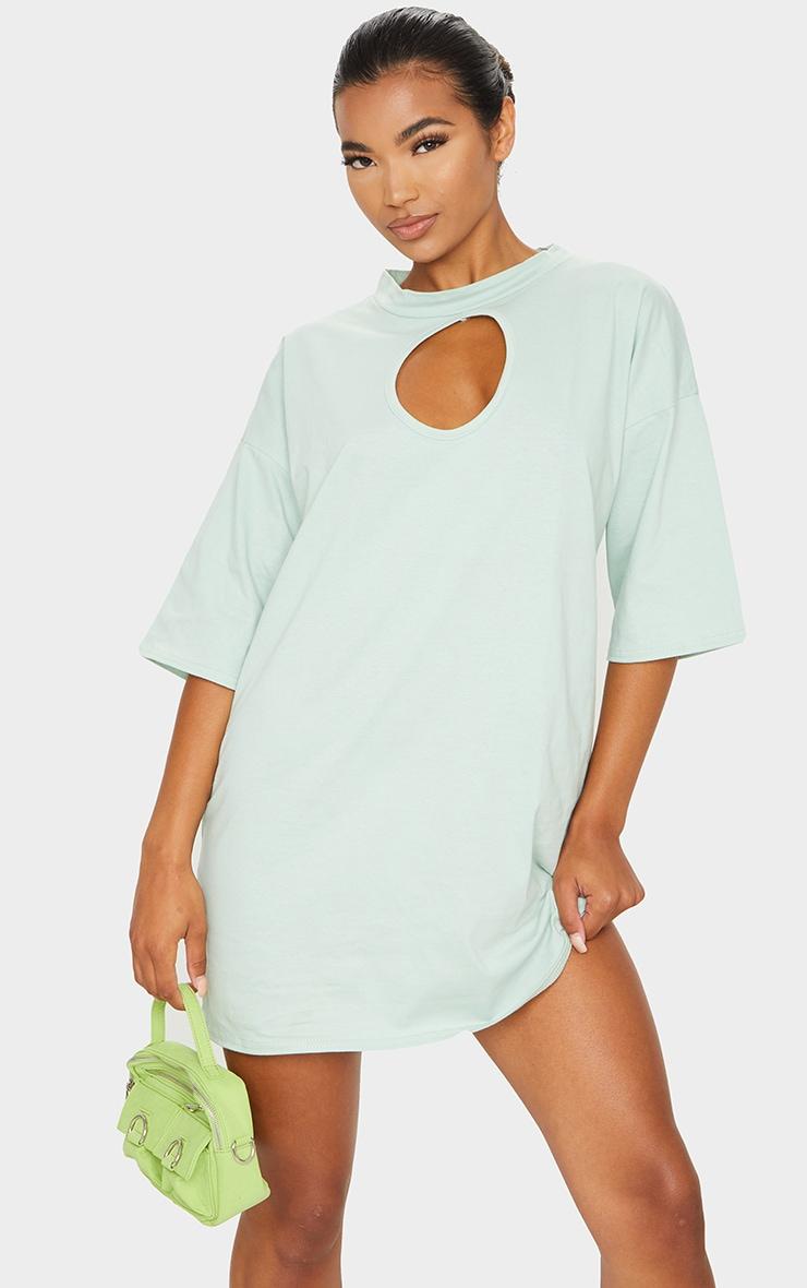 Sage Green Keyhole Bust Detail T Shirt Dress 3