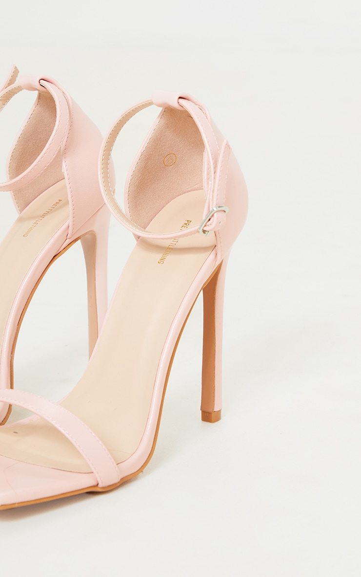 Pink PU Barely There Strappy Heeled Sandals 4