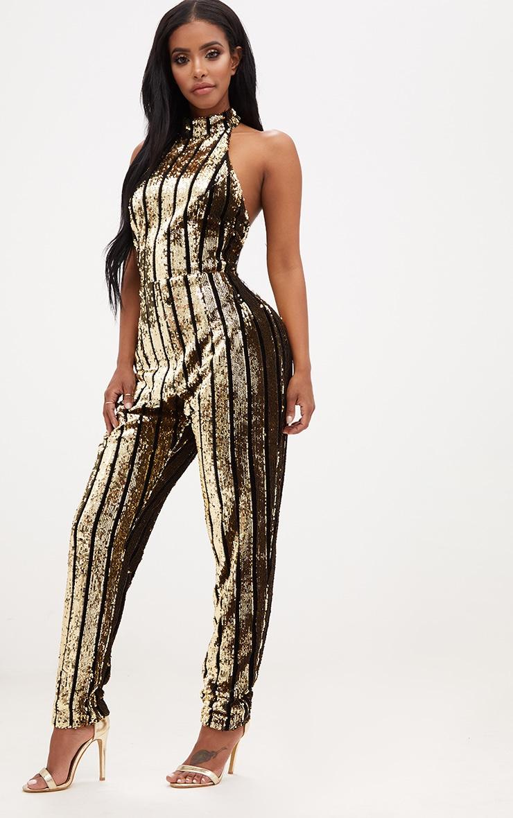 Shape Gold Sequin Halterneck Jumpsuit 4